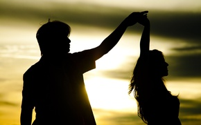 Picture girl, the sun, love, sunset, background, movement, widescreen, Wallpaper, romance, mood, woman, feelings, dance, pair, ...
