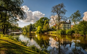 Picture nature, lake, the building, Nature, lake, building