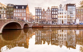 Picture bridge, reflection, home, Amsterdam, channel, Netherlands