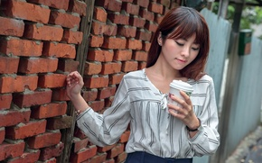Picture girl, face, wall, hair, coffee, Asian, Cup