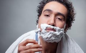 Picture man, foam, Shaving