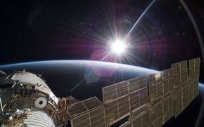 Picture the sun, space, ship, Earth, space, Union, manned, TMA-7