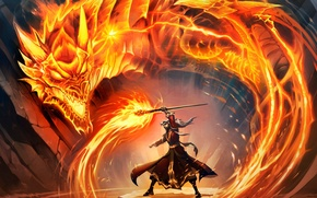 Picture fire, magic, dragon, elf, map, art, staff, WoW, World of Warcraft, guy, Hearthstone, Blackrock Mountain, …