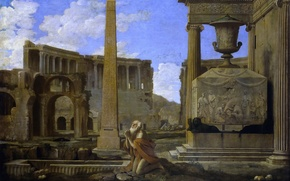 Wallpaper obelisk, Jean Lemer, A Hermit Praying In The Ruins, picture, the city