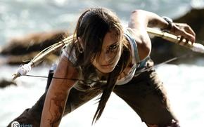 Wallpaper look, girl, face, hair, profile, Tomb Raider, cosplay, Lara Croft, Charly Brusseau