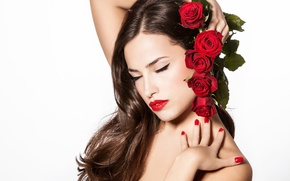 Picture girl, flowers, background, hair, roses, hands, makeup, lips, red