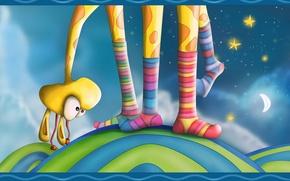 Wallpaper stars, feet, color, giraffe, socks
