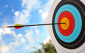 Picture the sky, clouds, macro, goal, blur, beautiful, arrow, combat, center, bokeh, tail, target, wallpaper., tip, ...