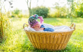Picture basket, sleep, cap, baby, sleep