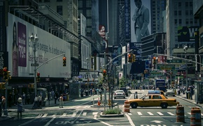 Picture road, machine, the city, people, street, taxi, USA, New York City, Times Square, traffic lights