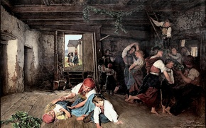 Picture picture, Ferdinand Georg Waldmuller, Ferdinand Georg Waldmüller, 1860, Austrian artist, Preparations for feast