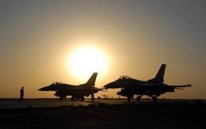 Picture sunset, fighters, beautiful