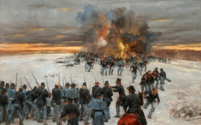 Picture oil, picture, canvas, North America, retreat, the war between North and South, soldiers. weapons