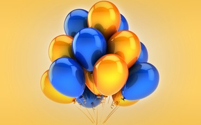 Picture balloons, yellow, blue, celebration, holiday, balloons