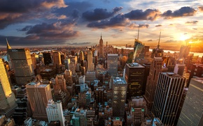 Picture the city, dawn, New York, skyscrapers, USA, USA, megapolis, NYC, New York City, Rockefeller Center, …