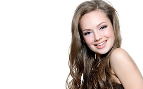 Picture smile, white background, brown hair