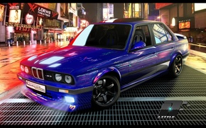 Picture machine, night, street, tuning, bmw, BMW, tuning, e30, time square, E30