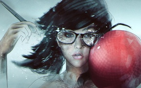 Picture girl, face, art, glasses, blow, hipster, dodgeball