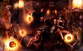 Wallpaper room, mummy, art, kyo-ra, jojo no kimyou na bouken, halloween, guys, skull, chair, braid, armor, ...