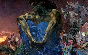 Picture 1890, Mikhail Alexandrovich, The demon sitting, Vrubel