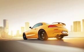 Picture BMW, Car, Speed, Sunset, Yellow, Rear, Abudhabi