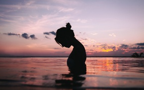Picture water, girl, calm, silhouette, peace