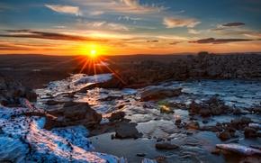Picture the sun, landscape, river, stones, the evening