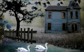 Picture house, style, background, swans