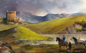 Picture girl, landscape, lake, castle, hills, horses, art, guy, walk, riders