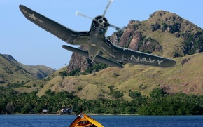 Picture the plane, collage, coast, boat, fighter, art, maneuver, theatre, WW2., action, military, F4U, CORSAIR, Pacific, …