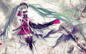 Picture girl, flowers, roses, petals, headphones, art, microphone, vocaloid, hatsune miku, ears, Vocaloid, 7th dragon, utm