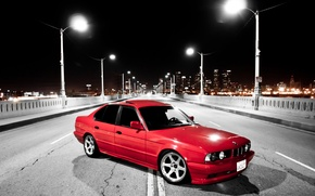 Picture night, bridge, the city, BMW, BMW, red, red, E34, 520i