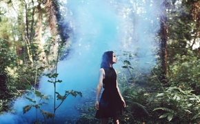 Picture forest, girl, fog, dress