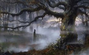 Picture forest, trees, fog, people, art, swamp, Russia