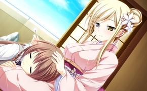 Picture girl, sleep, sleeping, girl, kimono, otome ga tsumu let koi no canvas, shishidou chihar, miyama ...