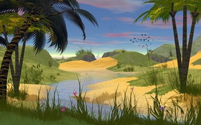 Picture grass, water, trees, butterfly, birds, nature, palm trees, figure, brook