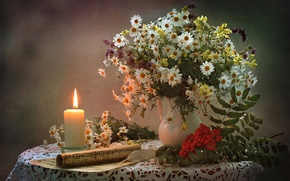 Wallpaper Rowan, bouquet, notes, candle, still life, chamomile