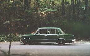 Picture green, classic, Lada, VAZ, 2101, low, Brilliant