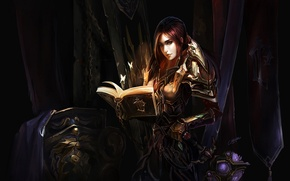 Wallpaper girl, weapons, armor, book, WoW, World of Warcraft, shield, chain, warrior, chenbo