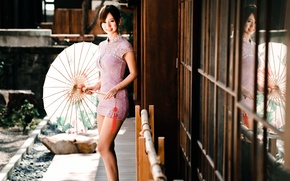 Picture umbrella, dress, Oriental girl, chingcho Chang
