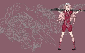Picture girl, sword, game, Sakura, pink, anime, cloud, katana, dragon, fang, ninja, asian, manga, pretty girl, …