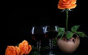 Wallpaper mood, wine, roses, glasses