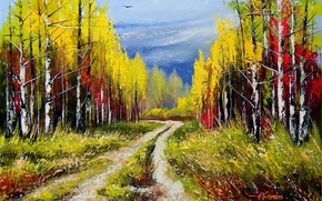 Picture road, autumn, forest, the sky, landscape, birds, nature, picture, painting, Khodukov