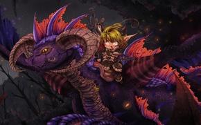 Picture fantasy, dragon, art, girl