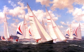 Picture sea, wave, the sky, clouds, picture, yachts, regatta, J. Steven Dew