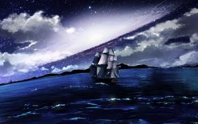 Picture sea, clouds, night, ship, sailboat, swimming