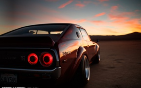 Wallpaper the sky, clouds, reflection, sunset, lights, the evening, GTR, Nissan, stop signal, '90s Heart, '70s ...