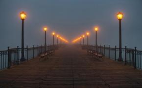 Wallpaper fog, lights, pier