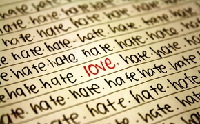 Wallpaper love, hatred, words