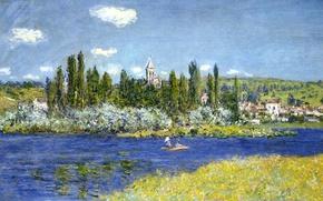 Wallpaper landscape, river, Vétheuil, boat, picture, Claude Monet